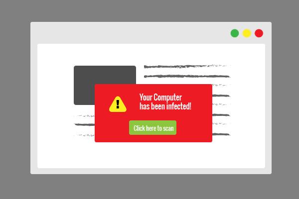 SAH Fake virus popup scam